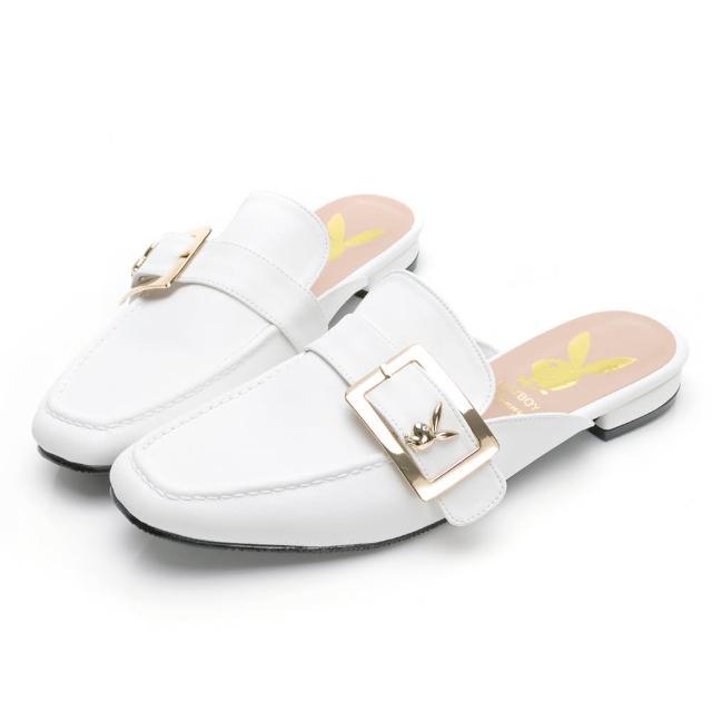 【PLAYBOY】玩美小時光 文青步調大方釦穆勒鞋-白-YD732011