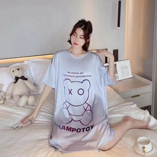 【Wonderland】睡衣 XO熊裸感冰絲寬鬆大碼睡裙