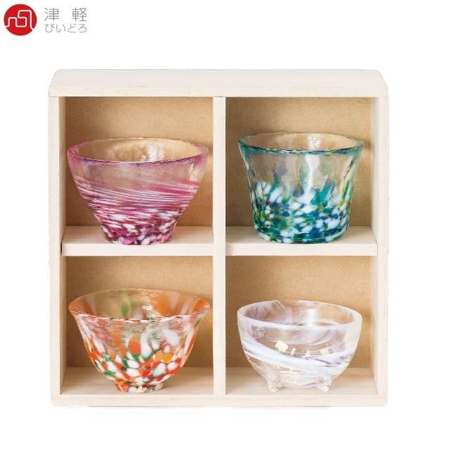 【ADERIA】日本津輕 手作清酒杯 贈木盒 禮盒組(清酒杯 玻璃杯)