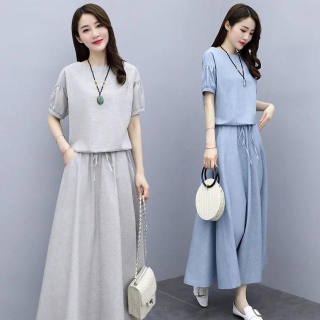 【A3】棉麻連衣裙兩件套(舒適材質.柔軟)