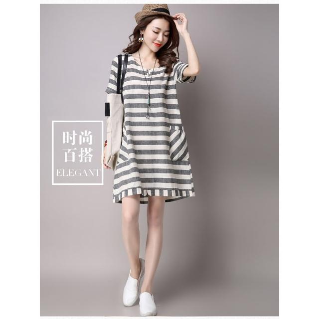 【A3】春夏季新款韓版寬鬆條纹短袖連衣裙(棉麻舒適上衣)