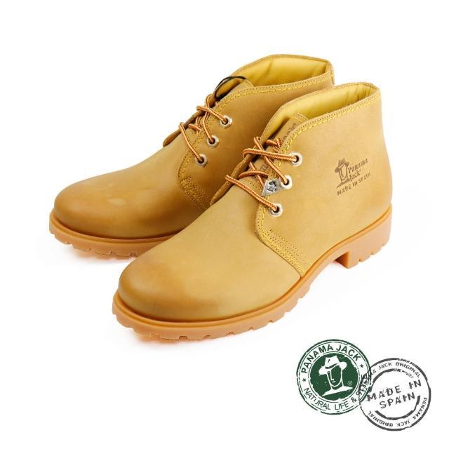 【Panama Jack】素面綁帶厚底沙漠靴 芥末黃(P0401W-TAN)