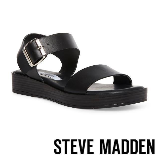 【STEVE MADDEN】DESTINED 真皮厚底粗帶休閒涼鞋(黑色)