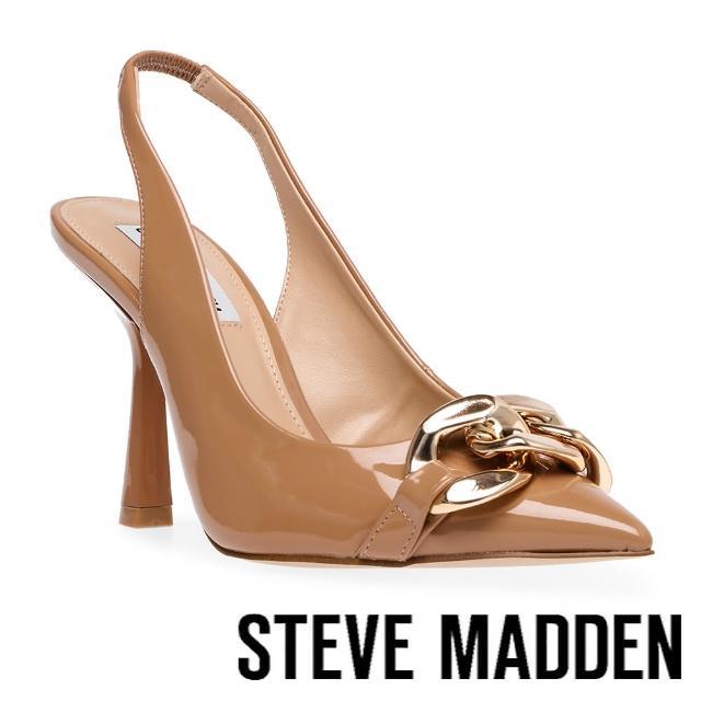 【STEVE MADDEN】JAZZILY 銀飾尖頭繞踝高跟鞋(卡其色)