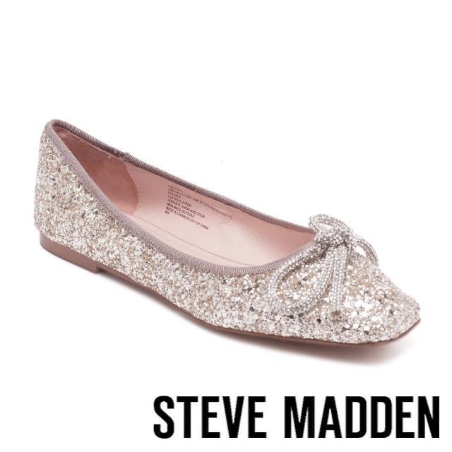 【STEVE MADDEN】TABITHAA 閃鑽蝴蝶結圓頭平底鞋(金色)