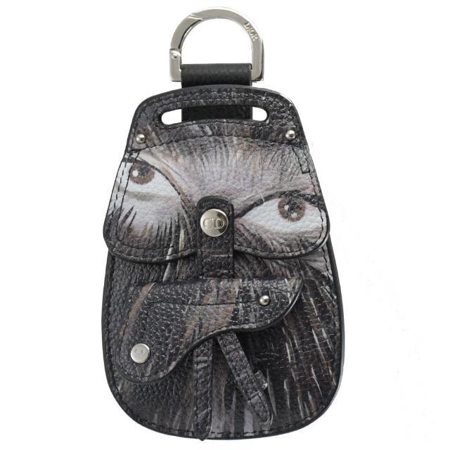 【Dior 迪奧】藝術家聯名經典包造型吊飾鑰匙零錢包(黑)
