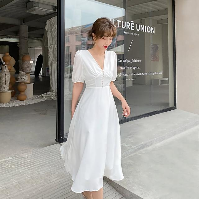 【女神婚紗禮服店】純白V領短袖A字擺洋裝 提貨券(氣質純白色洋裝)