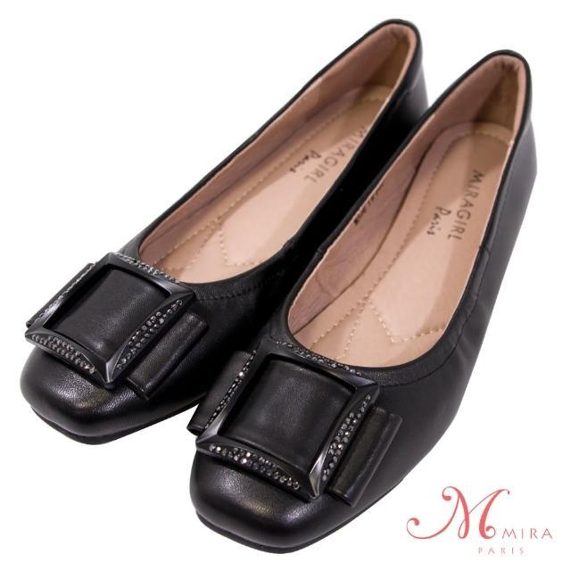 【MIRA】方釦鑲鑽方頭真皮低跟鞋-黑色-W18397N01