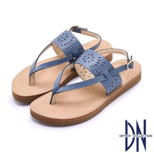 【DN】涼鞋_MIT真皮雕花夾腳造型平底涼鞋(藍)