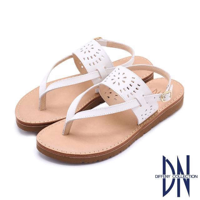 【DN】涼鞋_MIT真皮雕花夾腳造型平底涼鞋(白)