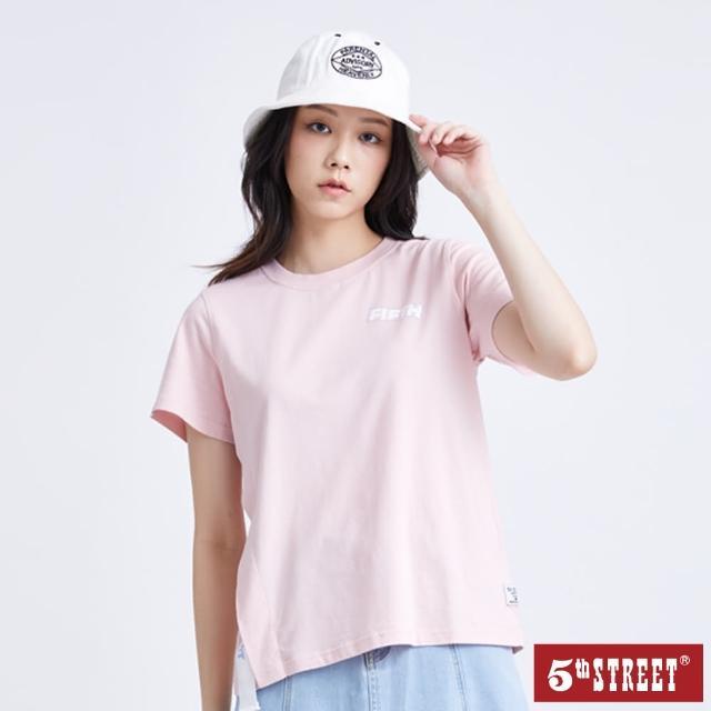 【5th STREET】女單邊織帶假開衩短袖T恤-粉紅