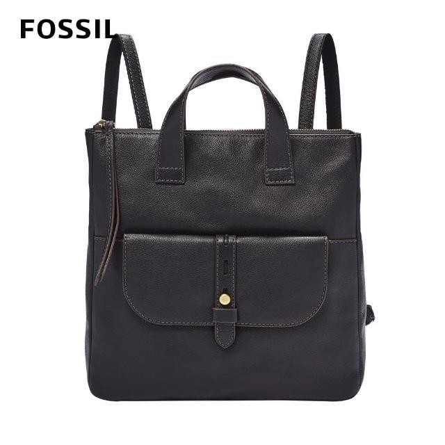 【FOSSIL】Hunter 真皮簡約後背包-黑色 SHB2695001