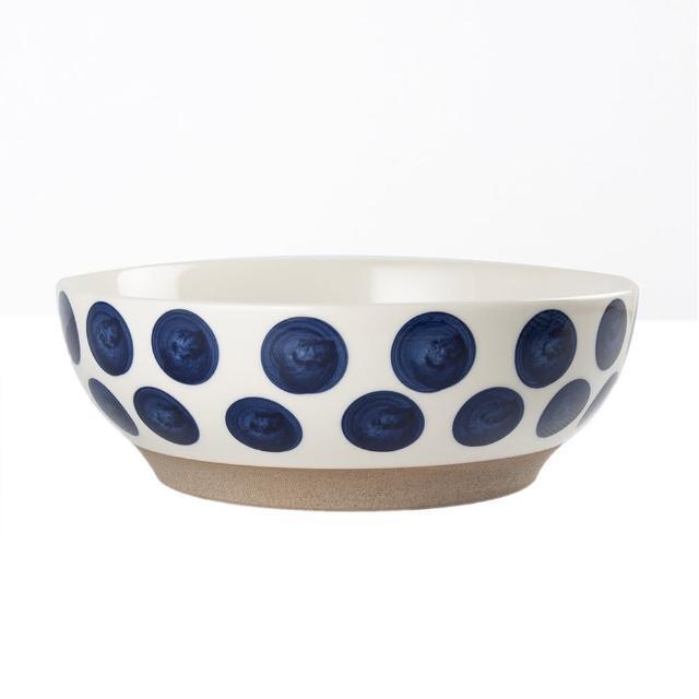 【Royal Duke】復古手繪藍彩系列-8吋碗-波點(復古 彩繪 圓點 陶瓷 小碗 飯碗)