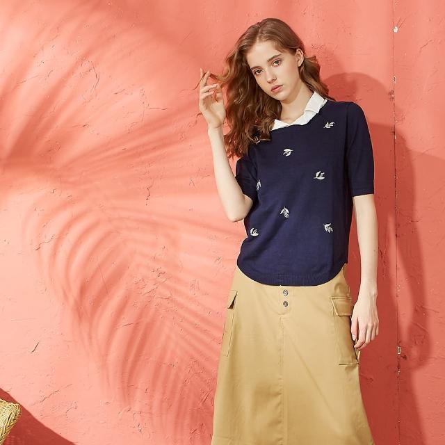【CUMAR】印花點綴紋路-女短袖針織衫(三色/版型適中)