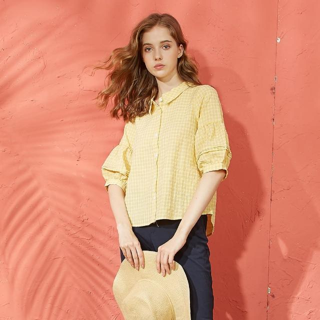 【CUMAR】休閒款燈籠袖設計-七分袖襯衫(二色/版型適中)