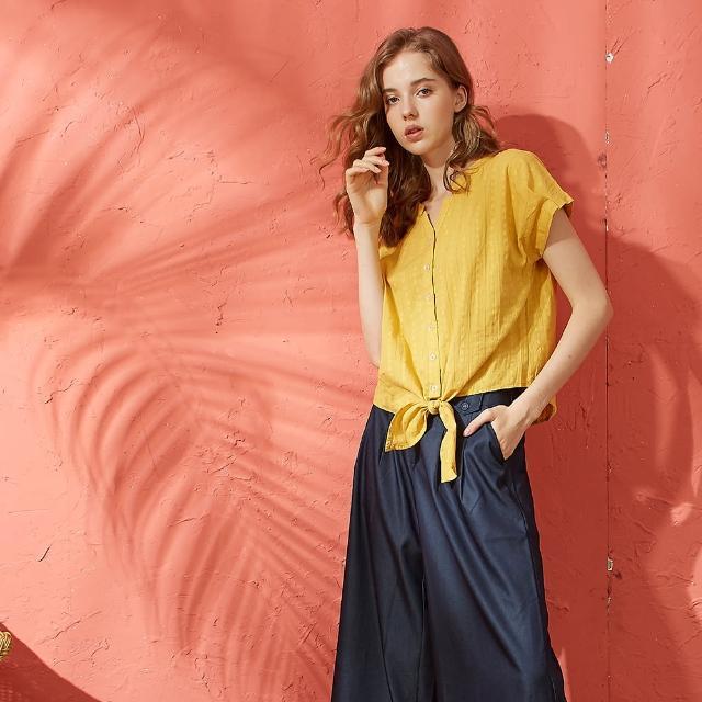 【CUMAR】棉質緹花布休閒-女短袖襯衫(二色/版型適中)