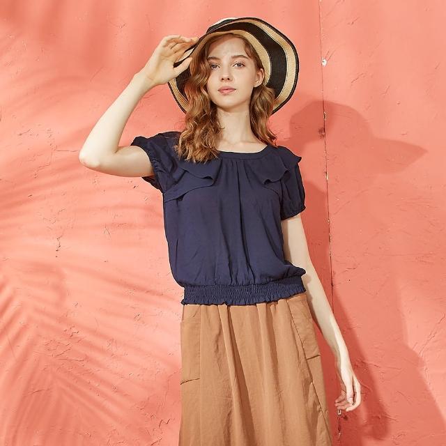 【CUMAR】下襬鬆緊荷葉袖雪紡-女短袖襯衫(二色/版型適中)
