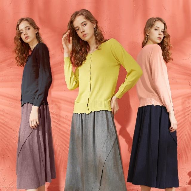 【CUMAR】休閒素面排釦-女長袖針織衫(三色/魅力商品/版型合身)