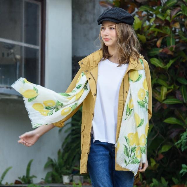 【KiKi】清新檸檬印花-女用圍巾(黃色/版型適中)