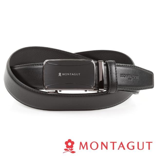 【MONTAGUT 夢特嬌】個性方框真皮自動扣皮帶(頭層牛皮358)