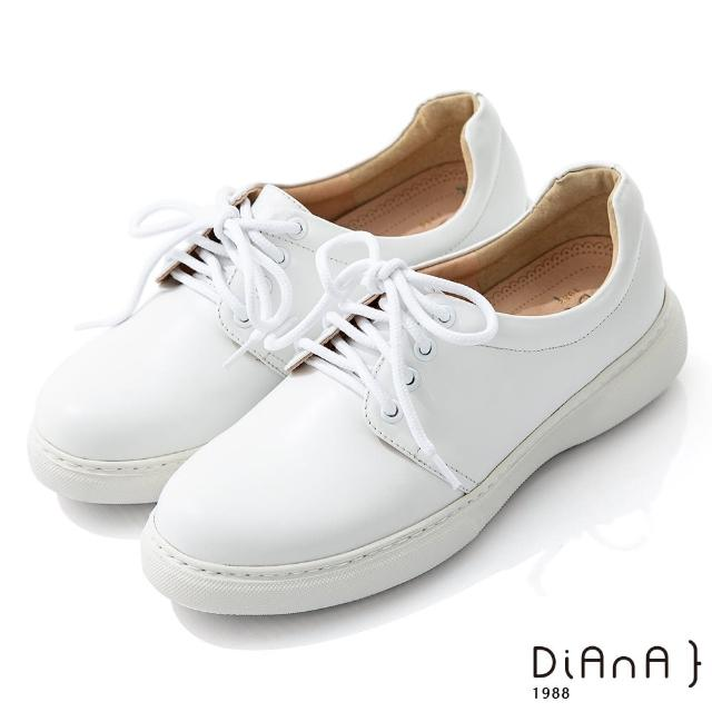 【DIANA】5公分質感牛皮極簡綁帶超輕量厚底休閒鞋-漫步雲端焦糖美人(白)