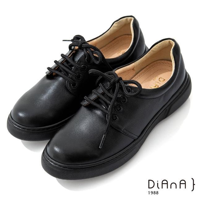 【DIANA】5公分質感牛皮極簡綁帶超輕量厚底休閒鞋-漫步雲端焦糖美人(黑)