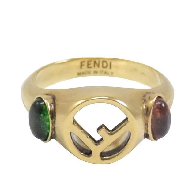 【FENDI 芬迪】復古雙F LOGO仿寶石仿舊古老戒指(古銅金)