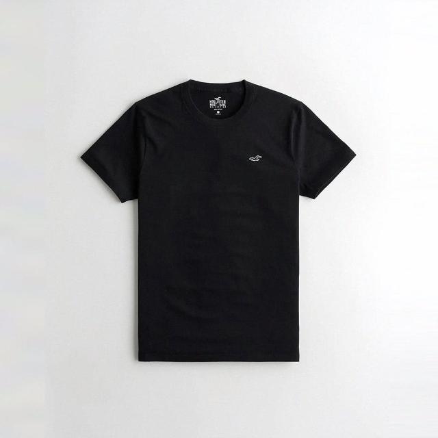 【HOLLISTER Co】Hollister 經典圓領刺繡小海鷗素面短袖T恤-黑色