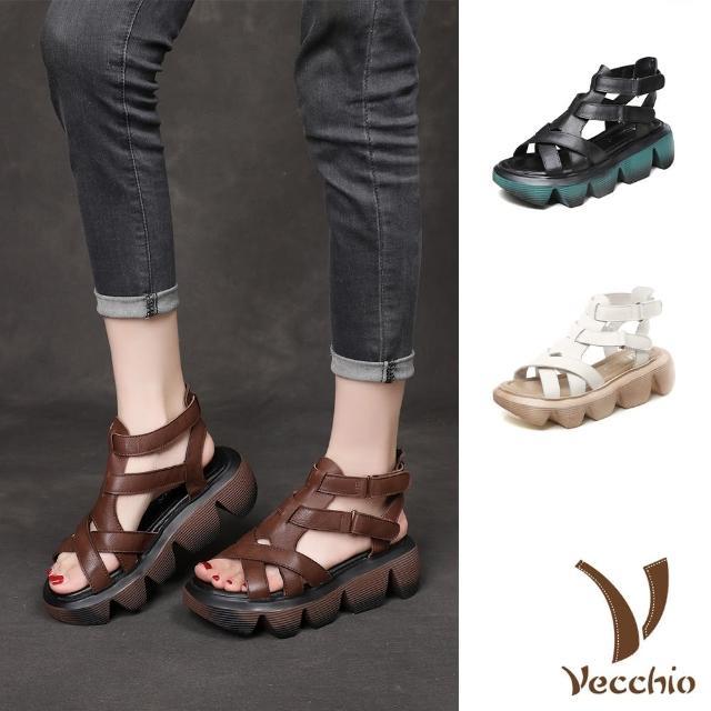 【Vecchio】真皮涼鞋 厚底涼鞋/真皮頭層牛皮鬆糕厚底時尚線條拼接羅馬涼鞋(3色任選)