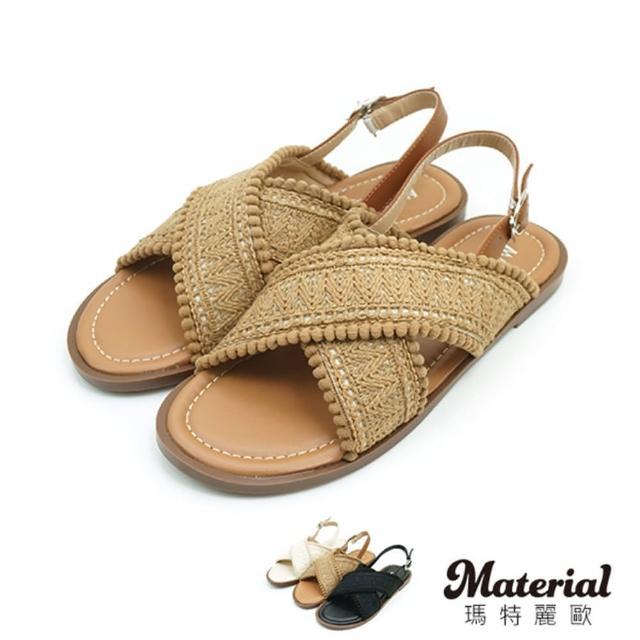 【MATERIAL】涼鞋 交叉寬帶平底涼鞋 MA女鞋 T8882(涼鞋)