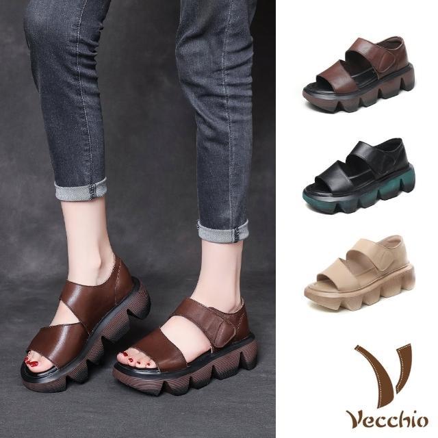 【Vecchio】真皮涼鞋 厚底涼鞋/真皮頭層牛皮鬆糕厚底極簡造型魔鬼粘個性涼鞋(3色任選)