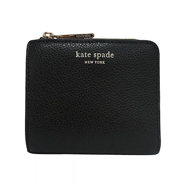 【KATE SPADE】Kate Spade EVA 金字牛皮雙折拉鍊零錢包短夾(黑)