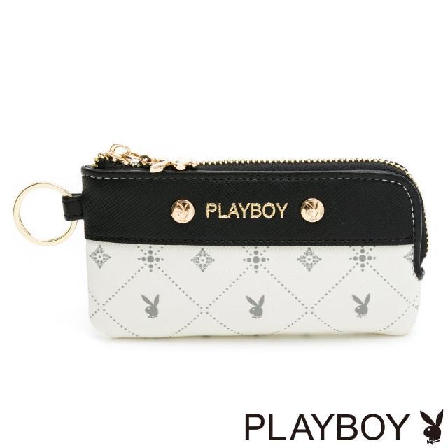 【PLAYBOY】鎖包 白色黑晶兔系列(米白色)