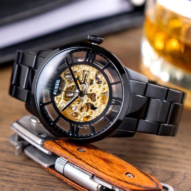 【FOSSIL】公司貨 Townsman 商務尊爵鏤空機械不鏽鋼腕錶/黑 男錶(ME3197)