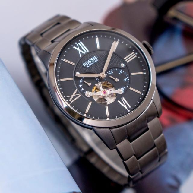 【FOSSIL】公司貨 Townsman 英倫爵士鏤空機械不鏽鋼腕錶/黑x銀針 男錶(ME3172)