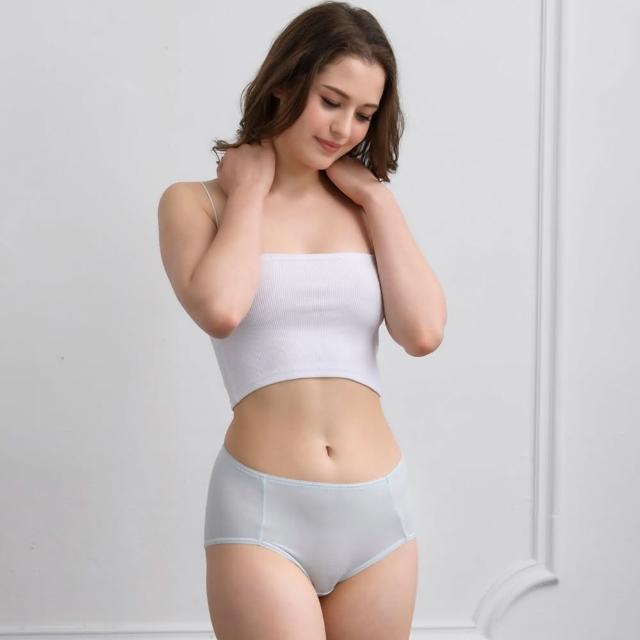 【Wacoal 華歌爾】海藻冰涼 M-3L中腰三角褲 健康材質-NSC027CS(海水藍)