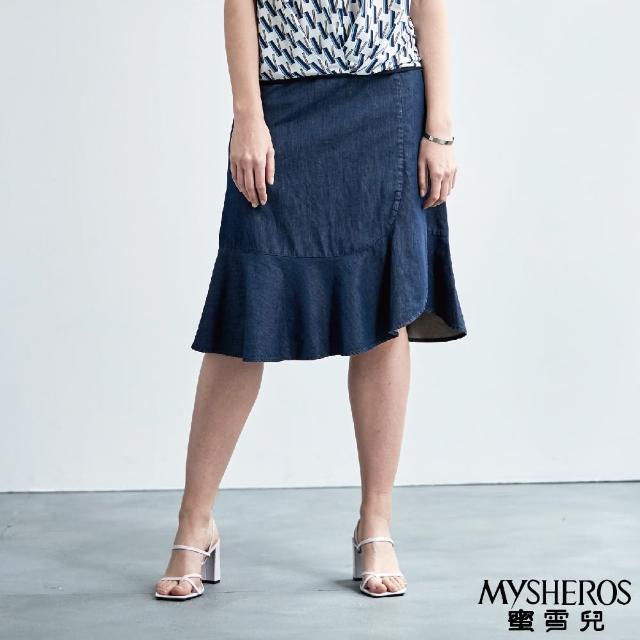 【MYSHEROS 蜜雪兒】純棉波浪斜邊及膝牛仔裙(藍)