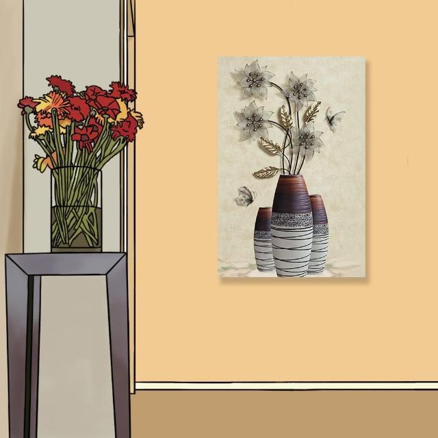 【24mama 掛畫】單聯式 油畫布 花卉 昆蟲 蝴蝶 藝術裝飾 無框畫-40x60cm(復古花瓶)
