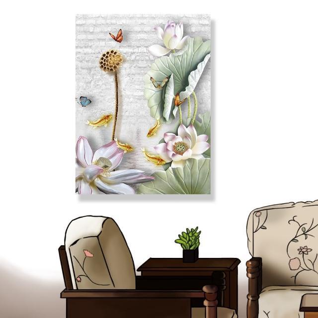 【24mama 掛畫】單聯式 油畫布 動物昆蟲 蝴蝶 美麗花卉 植物 蓮藕 荷葉 無框畫-60x80cm(睡蓮鯉魚)