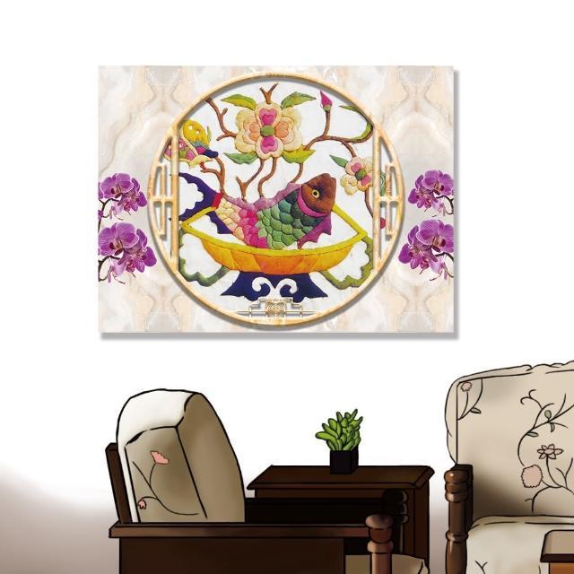 【24mama 掛畫】單聯式 油畫布 動物 蘭花 花卉 豐富多彩 無框畫-80x60cm(刺繡魚)