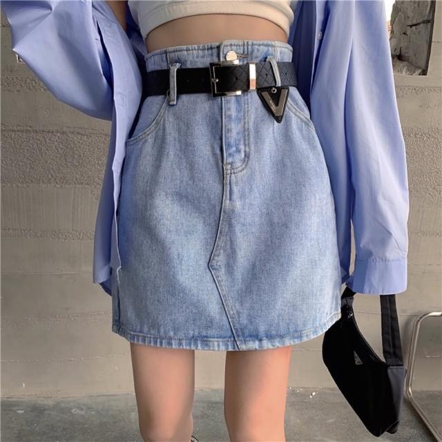 【WHATDAY】高腰簡約百搭修身淺牛仔短裙S-XL