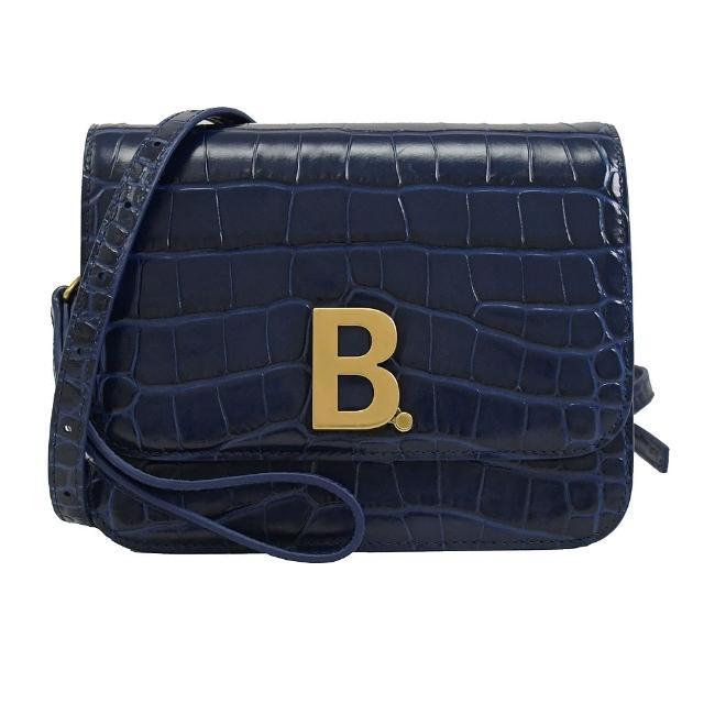 【Balenciaga 巴黎世家】金屬字母B LOGO鱷魚紋手提肩斜風琴包(寶藍)