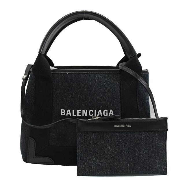 【Balenciaga 巴黎世家】NAVY CABAS XS 單寧布手提斜背兩用包(深藍)