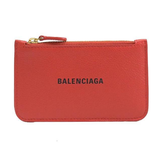 【Balenciaga 巴黎世家】品牌烙印LOGO小牛皮信用卡零錢包(紅)