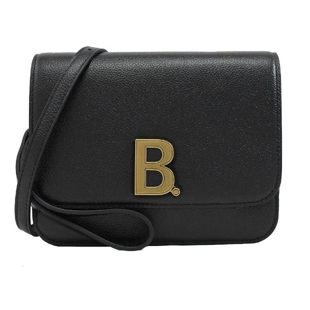 【Balenciaga 巴黎世家】金屬字母B LOGO小牛皮手提肩斜風琴包(黑)