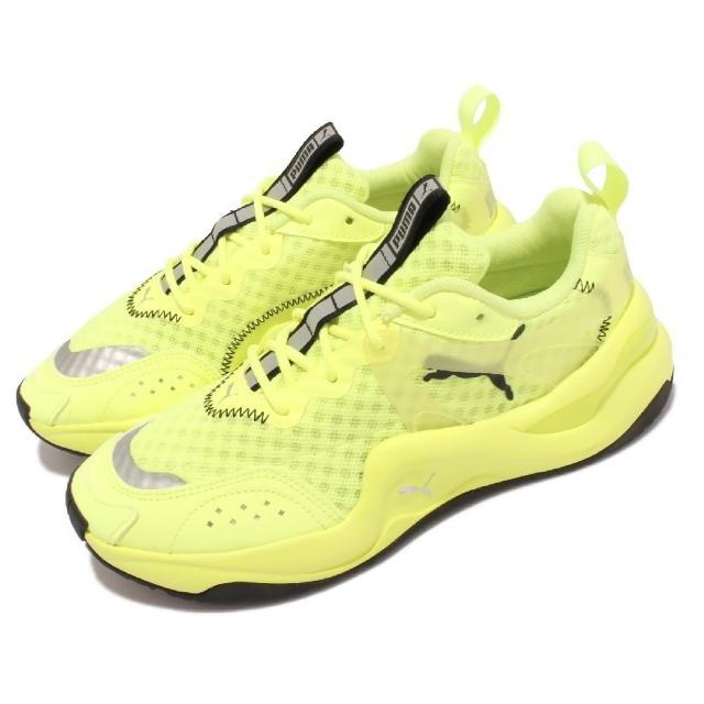 【PUMA】休閒鞋 Rise Neon Wns 復古 女鞋 微增高 穿搭推薦 街頭風 反光 螢光黃 黑(372444-01)