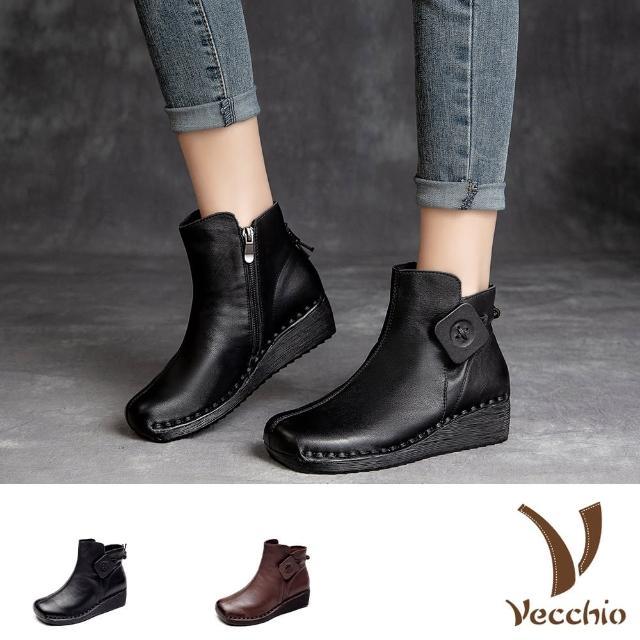 【Vecchio】真皮短靴 坡跟短靴/全真皮頭層牛皮寬楦軟底木釦造型坡跟短靴(2色任選)