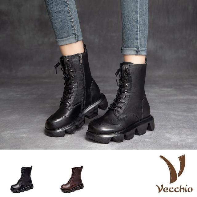【Vecchio】真皮馬丁靴 厚底馬丁靴/真皮頭層牛皮波浪厚底設計款保暖絨裡馬丁靴(2色任選)