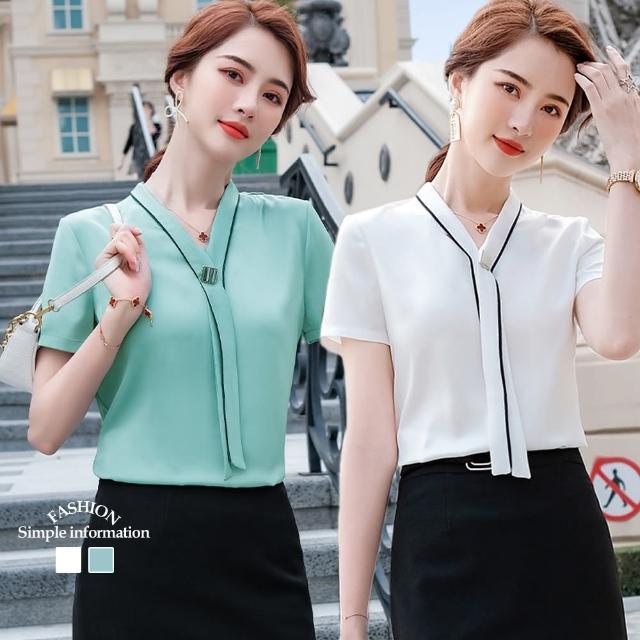 【Alishia】輕奢時尚V領五分袖雪紡上衣襯衫 M-3XL(現+預 白色 / 綠色)