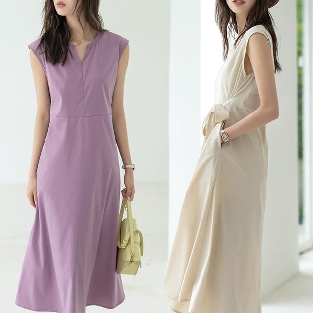 【Alishia】氣質優雅綁帶收腰無袖洋裝 M-L(現+預 黑 / 灰 / 紫 / 藍 / 杏)